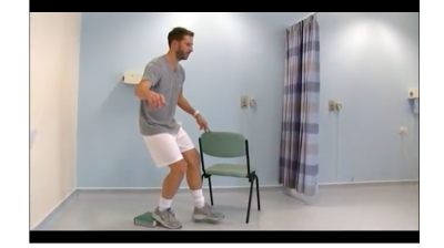Exercises for patients with anterior knee pain: Very Hard (decline single leg squat) Thumbnail