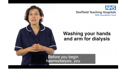 Washing your hands and arm for dialysis Thumbnail