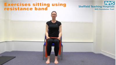 Exercises in sitting using a resistance band Thumbnail