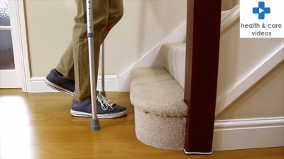 How to go up and down the stairs with crutches Thumbnail